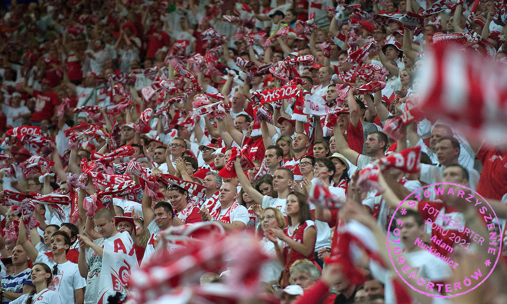 Poland's supporters during the UEFA EURO 2012 Group A football match between Poland and Czech Republic at Municipal Stadium in Wroclaw on June 16, 2012...Poland, Wroclaw, June 16, 2012..Picture also available in RAW (NEF) or TIFF format on special request...For editorial use only. Any commercial or promotional use requires permission...Photo by © Adam Nurkiewicz / Mediasport