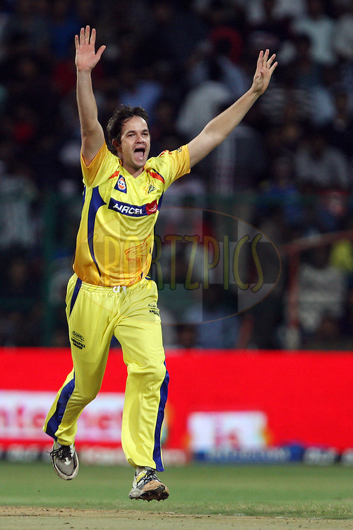 Albie Morkel celebrates a wicket during the IPL 2012 Season 5 eliminator match between The Mumbai Indians and The Chennai Superkings held at the M. Chinnaswamy Stadium, Bengaluru on the 23rd May 2012..Photo by Jacques Rossouw/IPL/SPORTZPICS