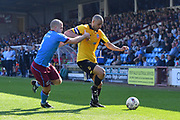 Bolton Wanderers midfielder Darren Pratley (21) and Scunthorpe United midfielder Stephen Dawson (8) during the EFL Sky Bet League 1 match between Scunthorpe United and Bolton Wanderers at Glanford Park, Scunthorpe, England on 8 April 2017. Photo by Ian Lyall.