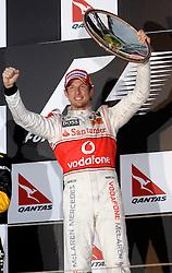MELBOURNE, AUSTRALIA - Saturday, March 28, 2009: Jenson Button (McLaren) celebrates after winning the Australian Grand Prix at the Melbourne Grand Prix Circuit. (Pic by Juergen Tap/Propaganda/Hoch Zwei)