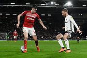 Paddy McNair (17) of Middlesbrough and Joe Bryan (23) of Fulham during the EFL Sky Bet Championship match between Fulham and Middlesbrough at Craven Cottage, London, England on 17 January 2020.