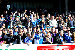 Bristol Rovers fans celebrate Bristol Rovers' Ellis Harrison goal - Photo mandatory by-line: Neil Brookman/JMP - Mobile: 07966 386802 - 18/04/2015 - SPORT - Football - Dover - Crabble Athletic Ground - Dover Athletic v Bristol Rovers - Vanarama Football Conference