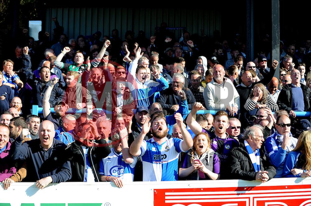 Bristol Rovers fans celebrate Bristol Rovers' Ellis Harrison goal - Photo mandatory by-line: Neil Brookman/JMP - Mobile: 07966 386802 - 18/04/2015 - SPORT - Football - Dover - Crabble Athletic Ground - Dover Athletic v Bristol Rovers - Vanarama Football Conference