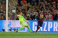 Lionel Messi of FC Barcelona kicks the ball to score his side's second goal during the UEFA Champions League semi-final first leg match, between FC Barcelona and Bayern Munchen on May 6, 2015 at Camp Nou stadium in Barcelona, Spain. <br /> Photo: Manuel Blondeau/AOP.Press/DPPI