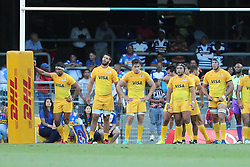 The Jaguares wait for the conversion to be taken during the Super Rugby match between DHL Stormers and Jaguares held at DHL Newlands in Cape Town, South Africa on the 4th March 2017.<br /> <br /> Photo by Ron Gaunt/Villar Press