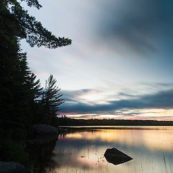 Sunrise on Bald Mountain Pond. Appalachian Trail. Bald Mountain Township, Maine.