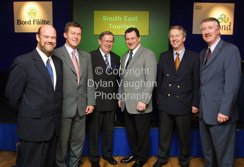 Pictured at the 2002 Regional Tourism Industry Briefing for the South East at the Newpark Hotel in Kilkenny were from left  Peter Hutcheson Cert, Gary Breen South East Tourism, Niall Reddy acting Chief Executive Bord Failte, Cllr Pat Crotty Chairman South East Tourism, Stan Power Jurys Hotel Waterford and Joe Palmer Chief Executive South East Tourism..Picture Dylan Vaughan
