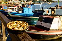 Brasil - Espirito Santo - Vista Torta Capixaba, Prato Tipico da Cultura Capixaba com vista da Ilha das Caieiras  - Foto:  Gabriel Lordello/Mosaico Imagem