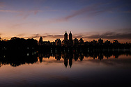 Sunset over the Reservoir in Central Park with a view of the El Dorado twin towers