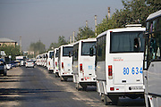 Uzbekistan, Bukhara. Students are brought with buses from the city to the countryside to help with the Cotton harvest.