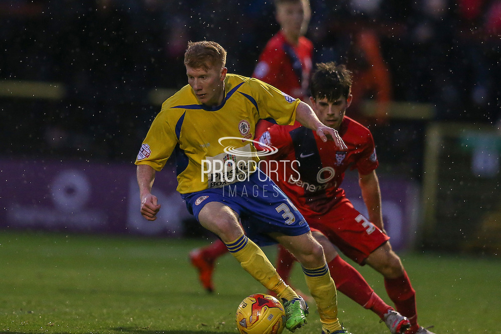 Accrington Stanley defender, on loan from Middlesbrough, Brad Halliday and York City midfielder, on loan from Tottenham Hotspur, Kenny McEvoy  during the Sky Bet League 2 match between York City and Accrington Stanley at Bootham Crescent, York, England on 28 November 2015. Photo by Simon Davies.