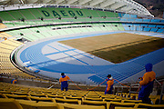 Workers cleaning Daegu Stadium which will host the 2011 IAAF World Championships in Athletics. Daegu, also known as Taegu and officially the Daegu Metropolitan City, is the third largest metropolitan area in South Korea, and by city limits, the fourth largest city with over 2.5 million people. The IAAF World Championships in Athletics will take place in Daegu from the 27th of August till the 4th of September 2011.