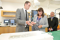 17/09/2013  REPRO FREE Fiachra Sweeney Medtronic  Medtronic with Ms Máire Geoghegan-Quinn, EU Commissioner for Innovation, Research and Science and John MacNamara Medtronic in the Hybrid laboratory during the opening of the Medtronic Global Innovation centre at Medtronic, Galway. Photo:Andrew Downes