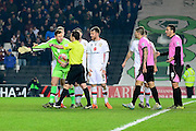 MK Dons goal keeper David Martin pleads his innocence  during the The FA Cup Third Round Replay match between Milton Keynes Dons and Northampton Town at stadium:mk, Milton Keynes, England on 19 January 2016. Photo by Dennis Goodwin.