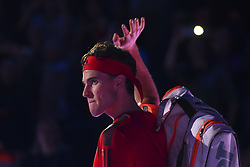 November 13, 2017 - London, United Kingdom - Dominic Thiem of Austria enters the court before his Singles match against Grigor Dimitrov of Bugaria during day two of the Nitto ATP World Tour Finals at O2 Arena, London on November 13, 2017. (Credit Image: © Alberto Pezzali/NurPhoto via ZUMA Press)