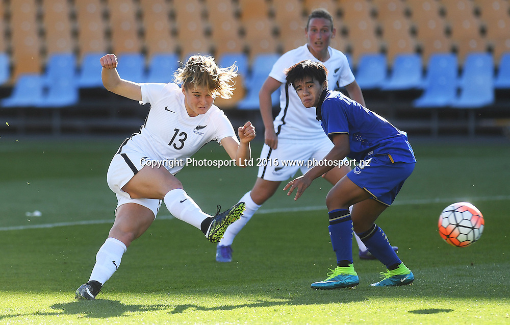 Rosie White scores the second goal for NZA.<br /> New Zealand A Womens Football team v Thailand. Mt Smart Stadium, Auckland, New Zealand. Saturday 17 December 2016 &copy; Copyright image: Andrew Cornaga / www.photosport.nz