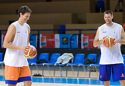 Jurica Golemac and Goran Jagodnik  at practice of Slovenian National Basketball team in Arena Torwar two days before the beginning of the Eurobasket 2009, on September 05, 2009 in Warsaw, Poland. (Photo by Vid Ponikvar / Sportida)