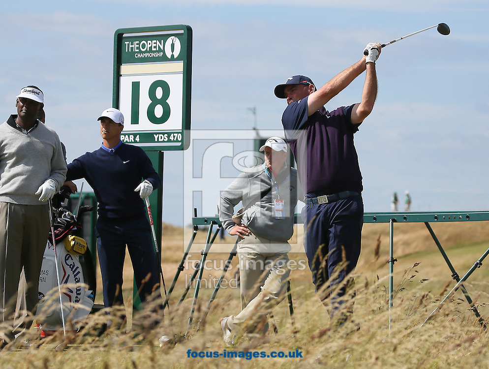 Picture by Paul Gaythorpe/Focus Images Ltd +447771 871632<br /> 15/07/2013<br /> Thomas Bjorn on the 18th tee with Vijay Singh and Thorbjorn Olesen during Open Championship practice day at Muirfield, Gullane.