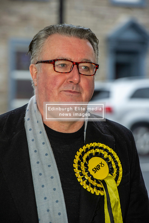 """Pictured: SNP PPC John Nicholson<br /> <br /> Keith Brown joined SNP candidate for Ochil and South Perthshire, John Nicolson, on the campaign trail in Auchterarder today.    The SNP Depute Leader said that Scottish voters hold """"the key to locking Boris Johnson out of power.""""<br />  <br /> Mr Brown welcomed local activists when they repaired to Cafe Kisa for a welcome warming drink.<br /> <br /> Ger Harley 