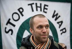"© Under license to London News pictures. 20/11/2010 Former soldier and anti-war campaigner Joe Glenton, who handed his war medals back at 10 Downing street helps lead protesters march through the centre of London today (20/11/2010).  ""Time to Go"" is  calling for British troops to be withdrawn from Afghanistan. The march, which is organised by Stop the War is supported by War on Want, UNITE the union and the University and College Union. Photo credit should read: London News Pictures/LNP"