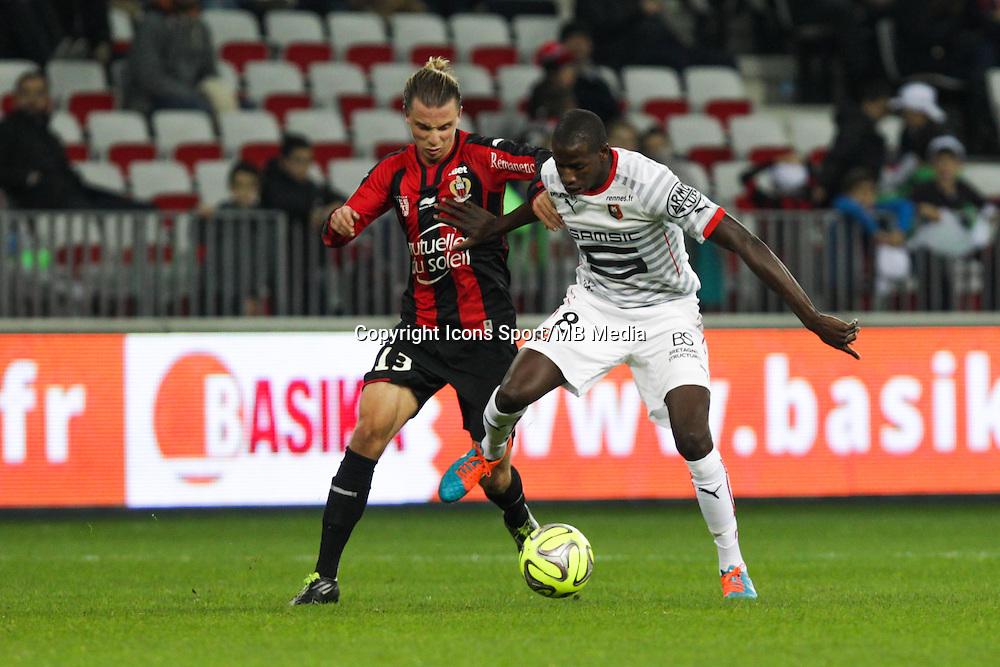 Niklas HULT / Abdoulaye DOUCOURE - 03.12.2014 - Nice / Rennes - 16eme journee de Ligue 1 -<br /> Photo : Jean Christophe Magnenet / Icon Sport