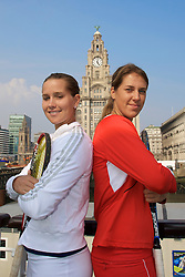 Liverpool, England - Sunday, June 10, 2007: Olga Savchuk (R) and Ashley Harkleroad (L) on the deck of the Royal Daffodil Mersey Ferry as they take a cruise along Liverpool's famous River Mersey. The WTA tennis players are in the city for the Liverpool International Tennis Tournament which starts on Tuesday June 12th. For more information please visit www.liverpooltennis.co.uk. (Pic by David Rawcliffe/Propaganda)