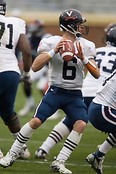 Virginia Cavaliers QB Marc Verica (6) drops back to pass during the UVA Spring game.  The University of Virginia Football Team played their Spring game at Scott Stadium in Charlottesville, VA on April 14, 2007.