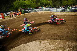Tim Gajser #243 of Slovenia, Evgeny Bobryshev #777 of Russia, Antonio Cairoli #222 of Italy during MXGP Trentino race two, round 5 for MXGP Championship in Pietramurata, Italy on 16th of April, 2017 in Italy. Photo by Grega Valancic / Sportida