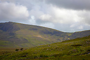 View of the Connor Pass while hiking in Abha Mhor valley, Cloghane, Kerry, Ireland