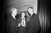 19/2/1966<br /> 2/19/1966<br /> 19 February 1966<br /> <br /> Mr. J.J. Boyle Director and General Manager of Shell and Albatros Ltd Chatting with Miss Calire Brophy of Kilcullen Chairman , Macra na Feirme and Mr Hugh Ryan of Portlaoise President of Macra na Feirme at the Reception