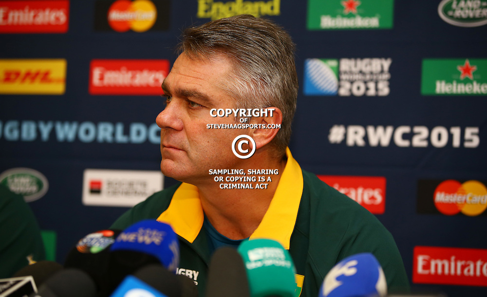 LONDON, ENGLAND - OCTOBER 21: Heyneke Meyer (Head Coach) of South Africa during the South African national rugby team announcement at Radisson Blu Edwardian, Guildford on October 21, 2015 , England. (Photo by Steve Haag/Gallo Images)