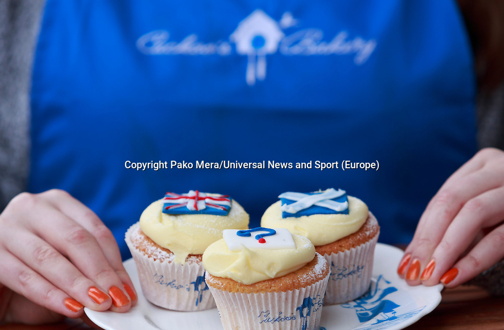 Hannah Vigers who works in the Cuckoo's bakery showing to the camera three different cakes made for a photocall.<br />  cupcakes.Cupcakes referendum photocall to take place. Cuckoo's bakery has been selling Yes, No and undecided cupcakes since March .<br /> Pako Mera/Universal News And Sport (Europe) 17/09/2014