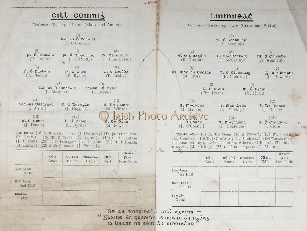 All Ireland Senior Hurling Championship Final,.01.09.1935, 09.01.1935, 1st September 1935, .1091935AISHCF,.Limerick 2-4, Kilkenny 2-5,.Minor Tipperary v Kilkenny, .Senior Limerick v Kilkenny,..Limerick Senior Team, P. Scanlan, Goalkeeper, E. Cregan, Right corner-back, T. McCarthy, Full-back, M. Kennedy, Left corner-back, M. Cross, Right half-back, P. Clohessy, Centre half-back, G. Howard, Left half-back,  T. Ryan, Captain, Midfielder, M. Ryan, Midfielder,  J. Mackey, Right half-forward, M. Mackey, Centre half-forward, J. Roche, Left half-back, J. O'Connell, Right corner-forward, P. McMahon, Centre forward, J. Close, Left corner-forward,  Substitutes, John Power, M. Condon, D. Clohessy, Thomas Shinny, Christy O'Brien, M. Hickey, C. Ahern..Kilkenny Senior Team, J. O'Connell, Goalkeeper, P. Larkin, Right corner-back, P. O'Reilly, Full-back, P. Blanchfield, Left corner-back, E. Byrne, Midfielder, P. Byrne, Centre half-back, P. Phelan, Right half-back, L. Meagher, Captain, Midfielder, Tommy Leahy, Left half-back, J. Walsh, Right half-forward, J. Duggan, Centre half-forward, M. White, Left half-forward, J. Dunne, Right corner-forward, L. Byrne, Centre forward, Matty Power, Left corner-forward, Substitutes, J. Dermody, P. Kealy, M. Tyrell, J. Phelan, L. Duggan, M. Larkin, J. Purcell, Substitutions, L. Duggan for J. Dunne, J. Dunne for Duggan, .hurling sliotars,<br />