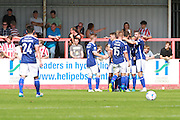 Barrow celebrate the opening goal during the Vanarama National League match between Cheltenham Town and Barrow at Whaddon Road, Cheltenham, England on 22 August 2015. Photo by Antony Thompson.