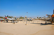 Israel, Hazirim, near Beer Sheva, Israeli Air Force museum. The national centre for Israel's aviation heritage General view of the aircrafts on display