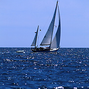 Rozinante Ketch under sail in Penobscot Bay, Maine..Photo by Roger S. Duncan.  ...