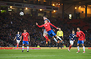23rd March 2018, Hampden Park, Glasgow, Scotland; International Football Friendly, Scotland versus Costa Rica; Andy Robertson of Scotland beats Ian Smith of Costa Rica in the air to head just wide