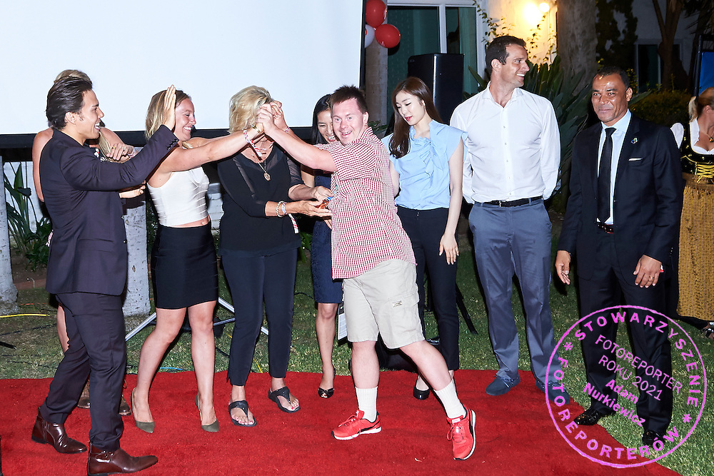 Olympians on Austria 2017 Reception during third day of the Special Olympics World Games Los Angeles 2015 on July 27, 2015 in Los Angeles, USA.<br /> USA, Los Angeles, July 27, 2015<br /> <br /> Picture also available in RAW (NEF) or TIFF format on special request.<br /> <br /> For editorial use only. Any commercial or promotional use requires permission.<br /> <br /> Adam Nurkiewicz declares that he has no rights to the image of people at the photographs of his authorship.<br /> <br /> Mandatory credit:<br /> Photo by &copy; Adam Nurkiewicz / Mediasport