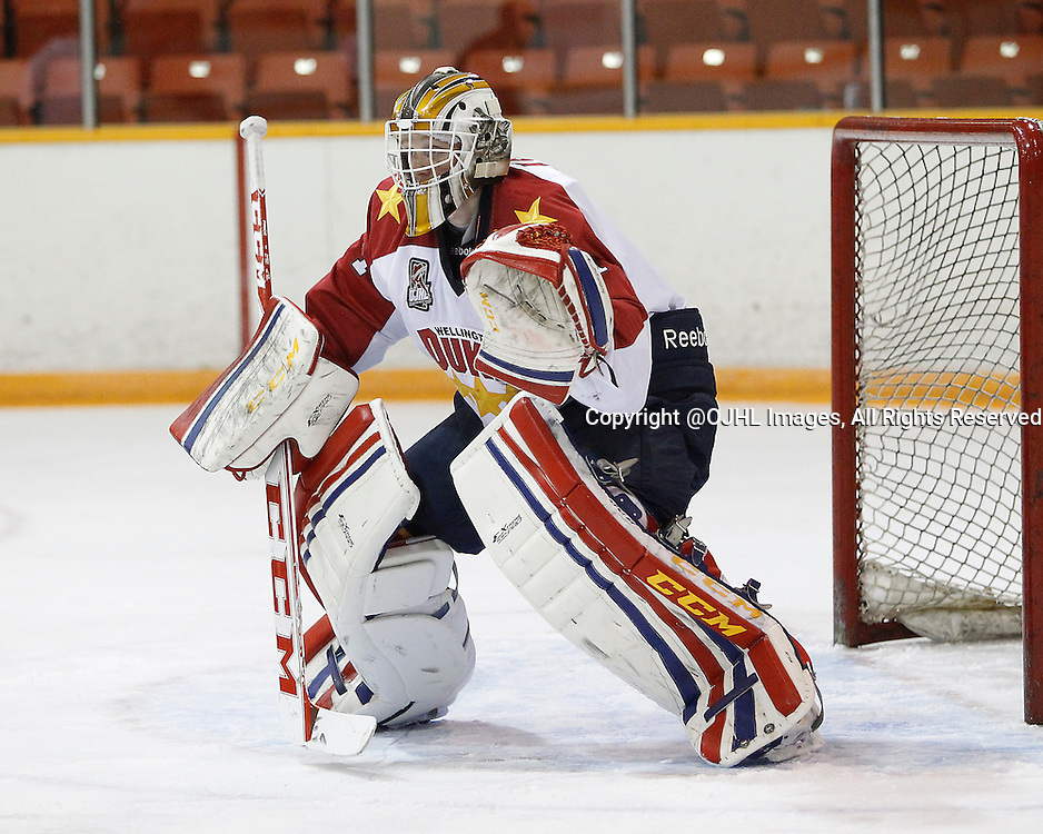 PICKERING, ON - Sep 14, 2014 : Ontario Junior Hockey League game action between the Pickering Panthers and the Wellington Dukes.  Goaltender Taylor Welsh #1 of Wellington Dukes during the first period.<br /> (Photo by Tim Bates / OJHL Images)