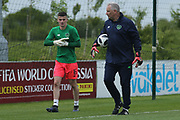 James Hugh Corcoran of Republic of Ireland (16) and goalkeeping coach during the UEFA European Under 17 Championship 2018 match between Bosnia and Republic of Ireland at Stadion Bilino Polje, Zenica, Bosnia and Herzegovina on 11 May 2018. Picture by Mick Haynes.