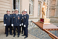 Dancing Procession of Echternach, Luxembourg (Whit Tuesday, 26 May 2015). Firemen prepare to carry a statue of St Willibrord. The dancing procession in Echternach was inscribed on the UNESCO list of Intangible Cultural Heritage in 2010. © Rudolf Abraham