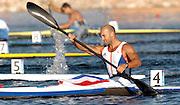 20040828 Olympic Games Athens Greece .[Canoe/Kakak Flatwater Racing] .Lake Schinias - Saturday Finals day.GBR Men's K1 Bronze medal winner Ian Wynne, paddling home in the Olympics final..Photo  Peter Spurrier.email images@intersport-images.com...