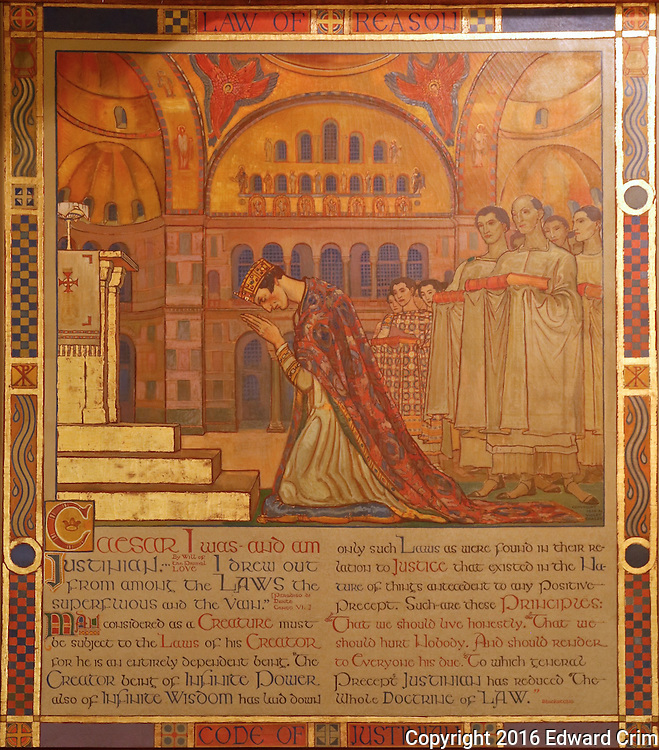 "Violet Oakley's painting  ""Code of Justinian"" in the Supreme Court chamber of the Pennsylvania capitol in Harrisburg."