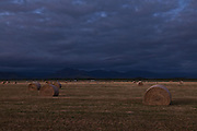 Hay Bales at dusk, Southland, New Zealand