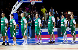 Goran Jagodnik of Slovenia, Goran Dragic of Slovenia, Edo Muric of Slovenia, Samo Udrih of Slovenia, Matjaz Smodis of Slovenia, Saso Ozbolt of Slovenia, Luka Rupnik of Slovenia during basketball match between National teams of Ukraine and Slovenia in Group D of Preliminary Round of Eurobasket Lithuania 2011, on September 1, 2011, in Arena Svyturio, Klaipeda, Lithuania. Slovenia defeated Ukraine 68 - 64. (Photo by Vid Ponikvar / Sportida)