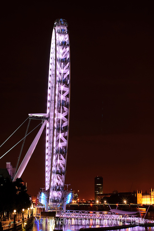 Millenium Wheel (London Eye) on the River Thames at night