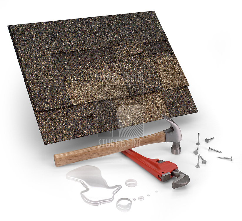 roofing shingles, hammer & water