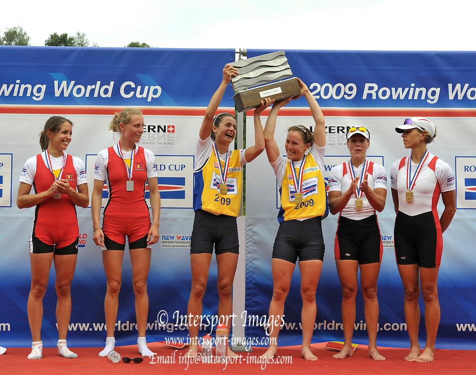 Lucerne, SWITZERLAND,  GBR LW2X Gold Medalist, bow, Hester GOODSELL and Sophie HOSKING, Third round of the  2009 FISA World Cup,  Rotsee Regatta Course, Sunday  12/07/2009 [Mandatory Credit Peter Spurrier/ Intersport Images].