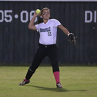 Lauren Wood   Buy at photos.djournal.com<br /> Mooreville's Analyse Long throws to the infield during Tuesday night's 3A softball semifinal game against Nettleton. Nettleton defeated Moorville 28-13.