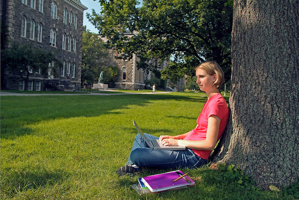 college student on campus of an American University
